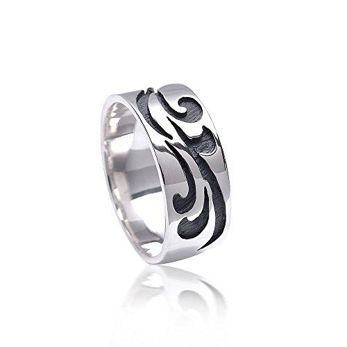 MATERIA Damen Ring Antik floral 925 Sterling Silber rhodiniert bicolor/deutsche Fertigung #SR-121, Ringgrößen:62 (19.7 mm Ø)
