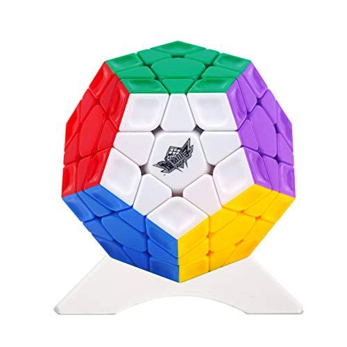OJIN Cyclone Boys Megaminx 3x3 Megaminx Dodecahedron Rainbow 12 Lados Megamix Cube 3x3 Cube Puzzle con un trípode de Cubo (Sin Etiqueta)
