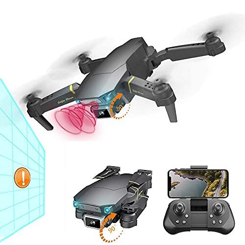 FMOGG Dron Plegable con Cámara 4K Esc para Niños Y Adultos, Función De Evitación De Obstáculos Mirando hacia Adelante, Cámaras Duales, Zoom De 50X, A Prueba De Viento (Batería Dual)