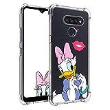 Nico Funda LG G8 ThinQ, LG G8, Lindo Gracioso Dibujos Animados Cáscara Moda, Silicona Gel TPU Transparente Ultra-Delgado Anti-Choque Bumper Case Caso para Teléfono LG G8 (Heart Duck)