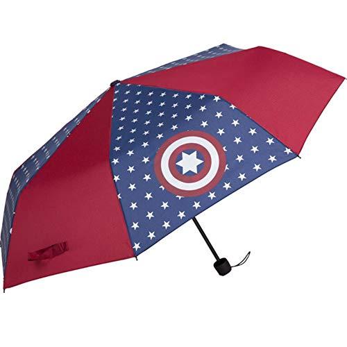 Paraguas plegable Spider-Man Capitán América Paraguas infantil Parasol portátil a prueba de viento Regalo de viaje al aire libre, Capitán América