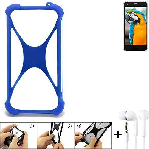 K-S-Trade® Bumper Für Vestel V3 5040 Schutzhülle Handyhülle Silikon Schutz Hülle Cover Case Silikoncase Silikonbumper TPU Softcase Smartphone, Blau (1x), Headphones