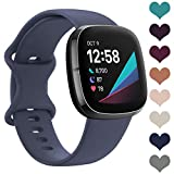 LORDSON Sports Band Compatible with Fitbit Sense & Versa 3 for Women Man, Soft Silicone Replacement Watch Strap Wristband Accessories for Sense Smart Watch