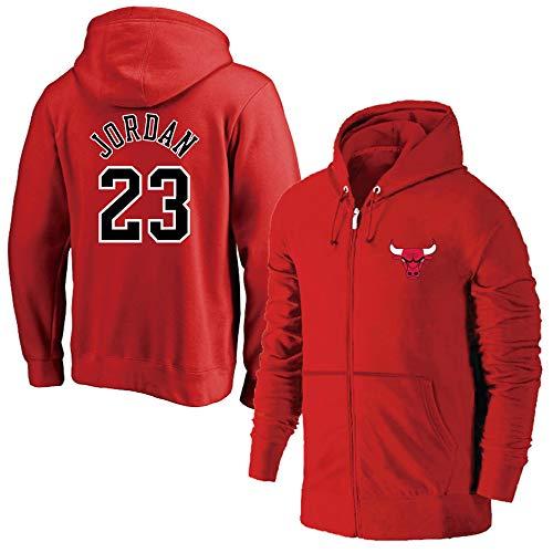 HuWai-Outdoor Felpa con Cappuccio NBA Chicago Bulls Fans Basketball Confortevoli Zipper Clothes Red, M