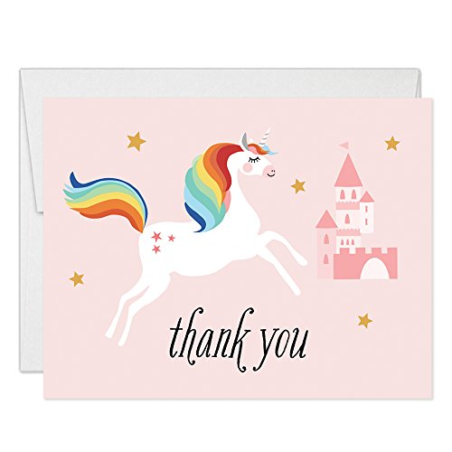 Magical Unicorn Thank You Cards with Envelopes (Pack of 25) Pink Castle Folded Blank Thank You Notecards Little Girl Daughter Child Kids Birthday Party Gift Thanks Gracias Excellent Value VT0043B