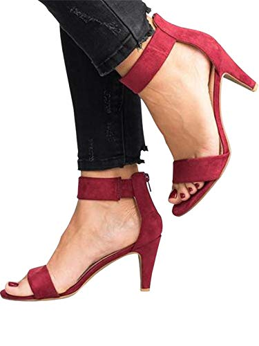 Best Buy! Festnight Women's Stiletto Open Toe Low Heel Zipper Closure Sandal Ankle Strap High Heels ...