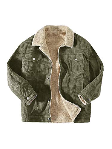 Makkrom Men's Corduroy Sherpa Lined Trucker Jacket Slim Fit Button Up Heavyweight Jacket