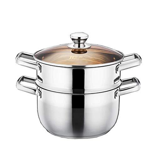 Cazos de Cocina, Ollas de sopa con tapas, olla de vapor / olla de acero inoxidable, olla doméstica de 22/24 cm de grosor, olla de sopa de fideos, estufa de gas / cocina de inducción general (t