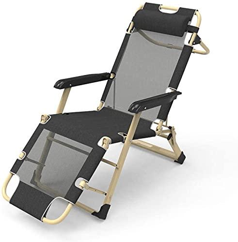 HKAFD Liegestütze Outdoor-Klappstühle Lounge Chair Office Outdoor Freizeitstuhl, komfortabel Entspannung Gartenstuhl Folding Lounge-Stuhl Camping-Stuhl NAP-Recliner 150kg Lager-Mesh Black