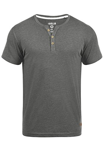!Solid Volker Herren T-Shirt Kurzarm Shirt Mit Grandad-Ausschnitt, Größe:L, Farbe:Grey Melange (8236)