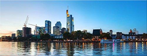 artissimo, Glasbild, 80x30cm, AG3345A, Frankfurt, Frankfurter Skyline, Bild aus Glas, Moderne Wanddekoration aus Glas, Wandbild Wohnzimmer modern