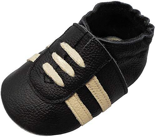 YIHAKIDS Weicher Leder Lauflernschuhe Krabbelschuhe Babyhausschuhe Turnschuh Sneakers mit Wildledersohlen(Schwarz,0-6 Monate,19/20 EU)