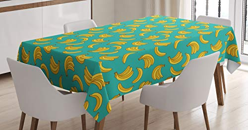 Ambesonne Yellow and Blue Tablecloth, Tropical Bananas Pattern in Vivid Tones Exotic Style Palm Summer Graphic, Dining Room Kitchen Rectangular Table Cover, 60' X 84', Yellow Teal