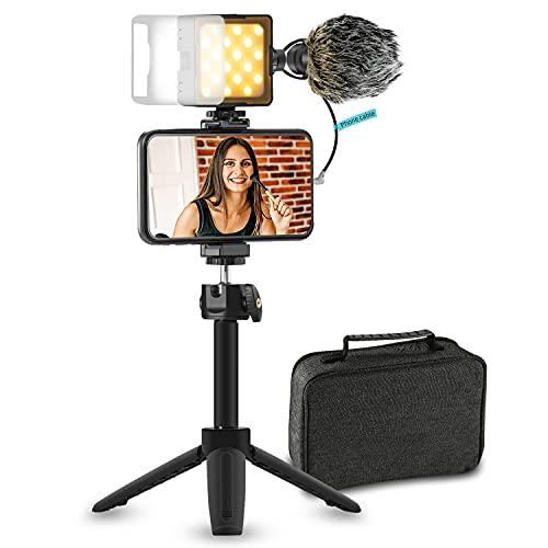 Sutefoto Smartphone Vlogging Kit, Phone Vlog Kit for Starter Kids Video Recording YouTube Tiktok Fitness Yoga with 2800-8500k Light & Diffuser + Microphone + Tripod + Phone Clip + Extension Pole