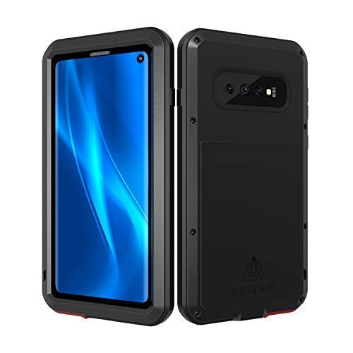 LOVE MEI Samsung Galaxy S10 Case with Built in Screen Protector, Heavy Duty Aluminum Rubber Anti-Scratched Cover Protective Silicone Shockproof Metal Grade Solid Tank Case for Samsung S10 Case (Black)