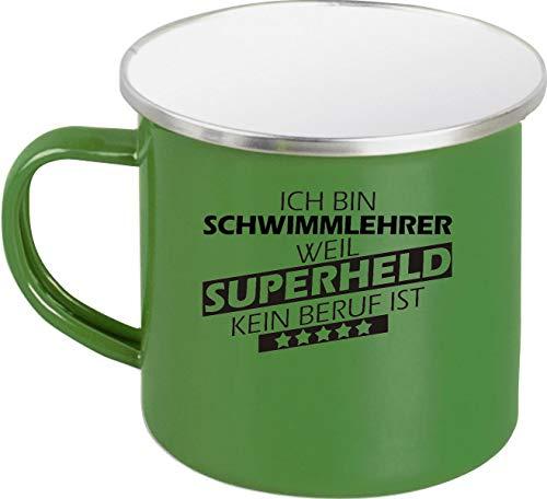 Shirtstown Emaille Tasse, Ich Bin Schwimmlehrer, Weil Superheld kein Beruf ist, nostalfische Tasse, Retro, Camper Tasse, Spruch Sprüche Logo Arbeit Ausbildung Abschluss, Farbe Grün