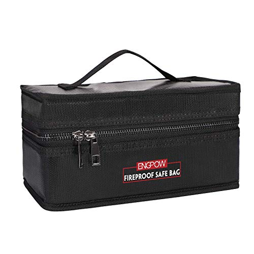 Lipo Battery Safe Bag, Fireproof Explosion-Proof RC Charger Storage Carry Case Double Zipper with Portable Handle for Traxxas DJI Hobby Accessoies Guard (8.5x3.8x4.3in)