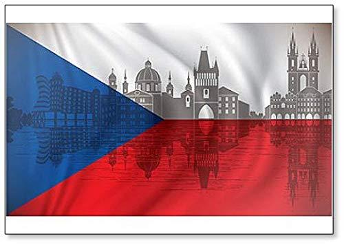 Kühlschrankmagnet Flagge Tschechien mit Skyline Prag