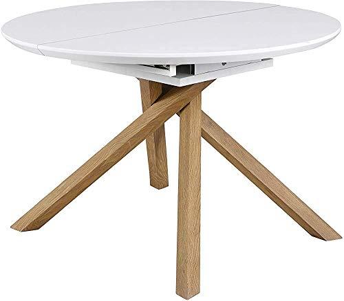 Muebles de mesa de café mesa de centro ovalada mesa de comedor extensible,White