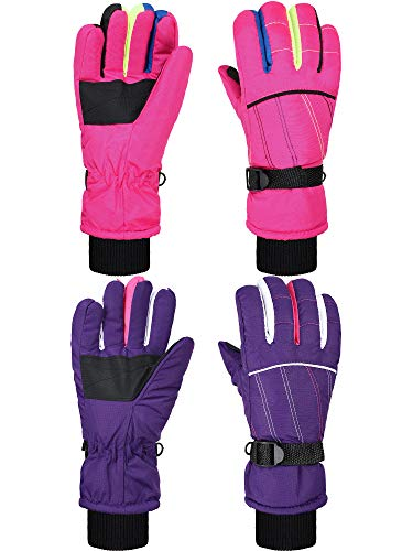 2 Pairs Kids Mittens Children Winter Snow Waterproof Thick Warm Windproof Gloves for Girls Boys (Purple and Pink Stripe Style,8 - 14 Years)