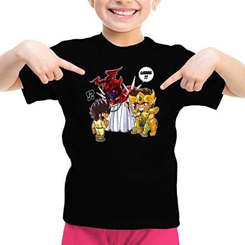 Okiwoki T-Shirt Enfant Fille Noir Saint Seiya parodique Aiolia Chevalier d'or du Lion et Seiya de Pégase : Les Rues du Sanctuaire de Plus en Plus Mal fréquentées. (Parodie Saint Seiya)