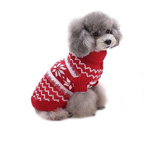 CHIYEEE Weihnachtspullover für Hunde und Katzen Weihnachten Hundepullover Warm Hundepulli Winter Strickpullover Sweater M