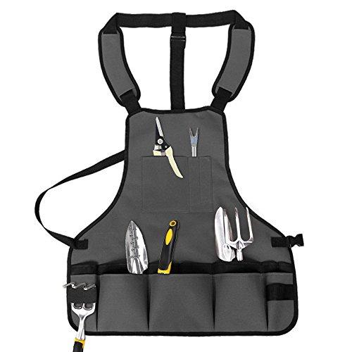 YOCZOX Garten Werkzeug Schürze, verstellbare Gartenschürze, Werkzeug Taschen aus 600D Oxford Tuch mit 15 Taschen, wasserdicht, Ideal für Gartengeräte, Mechaniker, Renovierung etc. 58x61cm, grau