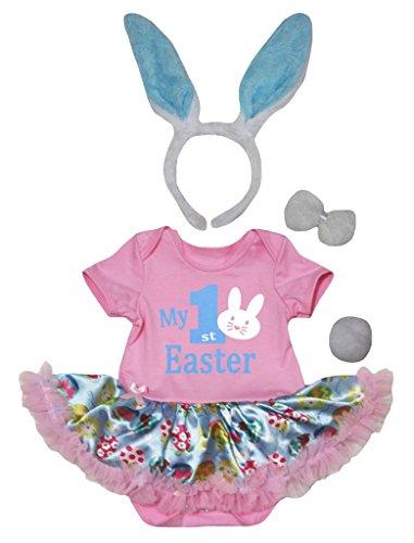 Petitebelle My 1st Easter Bunny Pink Body Oeufs Tutu Bleu clair Nb-18 m - Rose - S