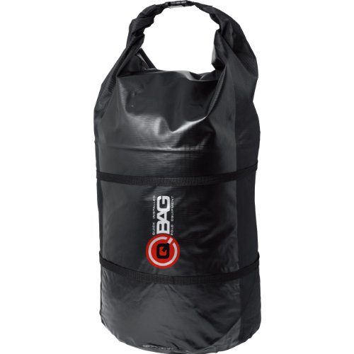 QBag Hecktasche Motorrad Motorradtasche Gepäckrolle wasserdicht 01, widerstandsfähig, reißfest, wasserdicht, Rollverschluss, Klickverschluss, inklusive Zwei Kompressionsgurte, Schwarz, 90 Liter