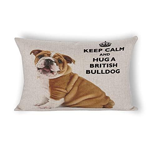 happygoluck1y Fundas de almohada lumbar decorativas de lino y algodón de 12 x 20 pulgadas, con diseño de bulldog británico, con texto en inglés «Keep Calm And Hug A British Bulldo»