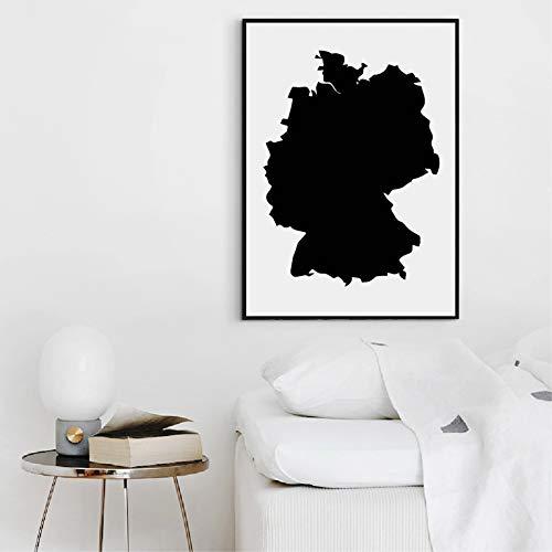 liwendi Deutschland Karte Form Schwarz Und Weiß Karte Poster Kunstdruck Leinwand Künstler Residenz Studie Dekorative Malerei 60 * 80 cm