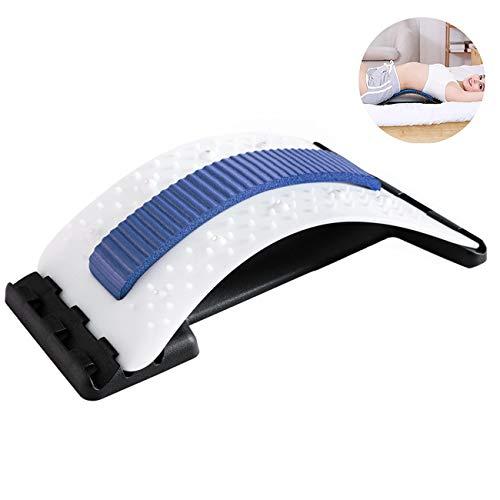Multi-Level Tratto Lombare Dispositivo Stretching - per La Bassa E Alta Torna Massaggiatore E di Sostegno, Supporto Lombare per La Sedia da Ufficio (Terapia Magnetica),Bluewhite
