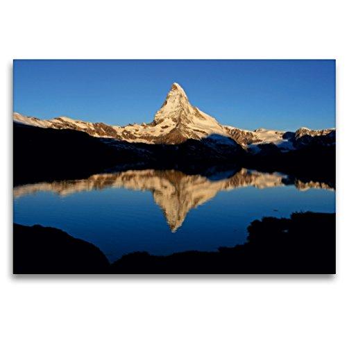 Premium Textil-Leinwand 120 x 80 cm Quer-Format Stellisee mit Matterhorn   Wandbild, HD-Bild auf Keilrahmen, Fertigbild auf hochwertigem Vlies, Leinwanddruck von Günter Franz Müller Fotografie