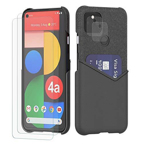 Schutzhülle für Pixel 4a 5G (15,7 cm / 6,2 Zoll), Web-Design, mit 2 Bildschirmschutzfolien & 2 Kameraschutzen, Schwarz