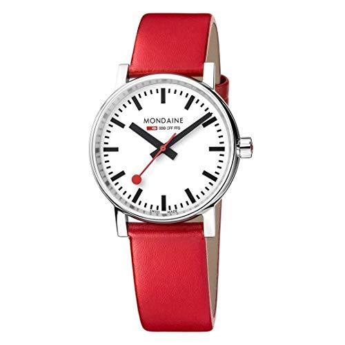 Mondaine Evo2 - Reloj de Cuero Rojo para Hombre y Mujer, MSE.35110.LC, 35 MM
