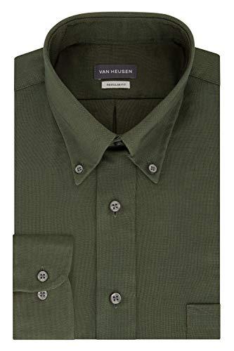 Van Heusen Men's Regular Fit Oxford Button Down Collar Dress Shirt, Dark Green, Medium