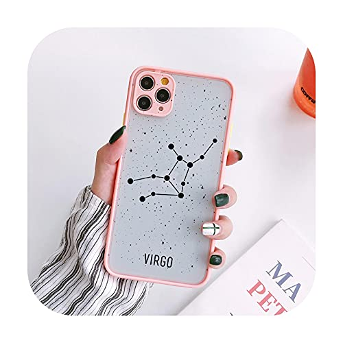 Twelve Constellations - Carcasa rígida para iPhone X XR XS Max para iPhone 8, 6S, 7 Plus SE 2020, 11, 12, Pro Max Mini, color rosa