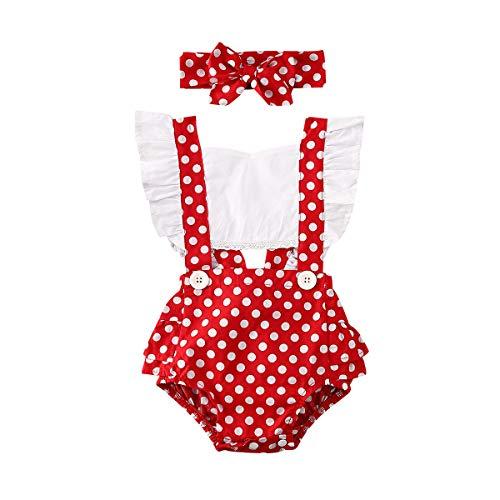 Ropa de verano para niña pequeña, volantes sin espalda, mameluco de lunares floral traje de una pieza mono - rojo - 6-12 meses