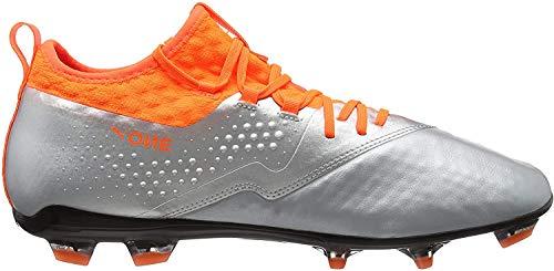 Puma Herren ONE 2 LTH FG Fußballschuhe, Silber Silver-Shocking Orange Black 01, 44 EU