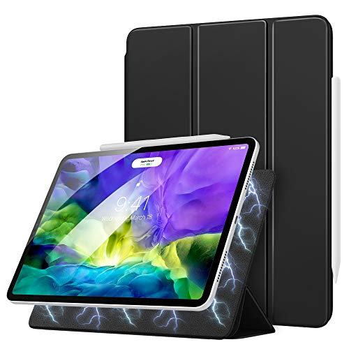 MoKo Magnetic Smart Folio Case Fit iPad Pro 11 2nd Gen 2020 & 2018 [Support Apple Pencil 2 Charging] Slim Lightweight Shell Stand Cover, Auto Wake/Sleep Fit iPad Pro 11' 2020 & 2018 - Black