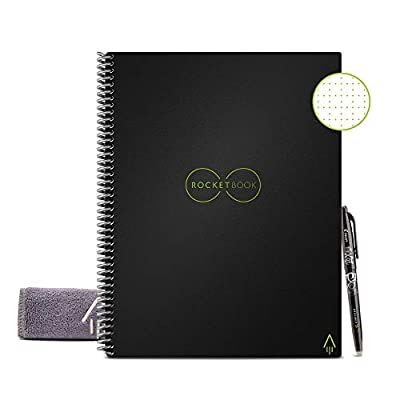 "Rocketbook Smart Reusable Notebook - Dot-Grid Eco-Friendly Notebook with 1 Pilot Frixion Pen & 1 Microfiber Cloth Included - Infinity Black Cover, Letter Size (8.5"" x 11"") by Rocket Innovations, Inc"