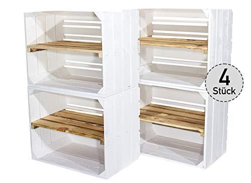 4er Set weiße Holzkiste mit geflammtem Mittelbrett -längst- Neue Obstkiste in weiß/Shabby chic...