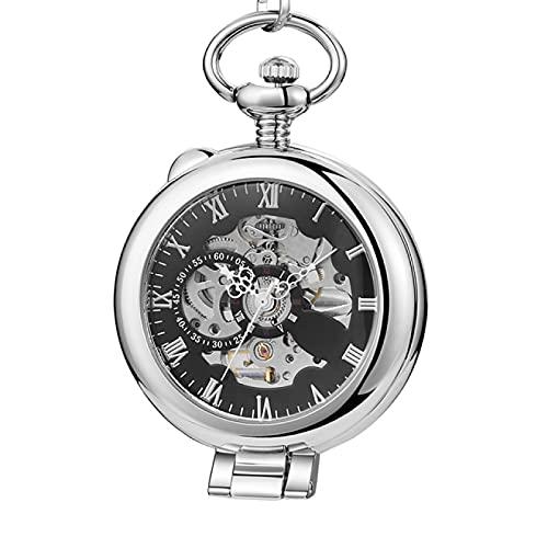 Reloj de Bolsillo de Acero Inoxidable para Hombre, Reloj de Bolsillo Informal a la Moda, Esfera Hueca, Reloj mecánico de Plata para Hombre