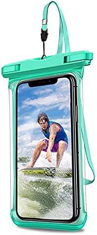 JOEDOT IPX8 Full View Waterproof Case Rainforest Desert Snow Transparent Dry Bag Seaside Swimming Pouch Mobile Phone Covers (Light Green)