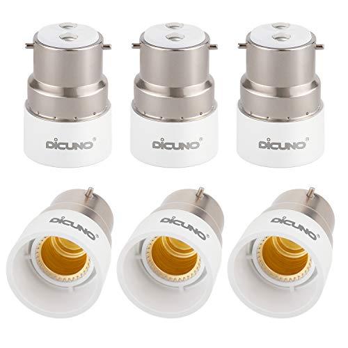 DiCUNO B22 zu E14 Sockeladapter, Bajonett zu kleinem Schraubenadapter, BC zu SES Konverter, 0-250V, 165 ℃ Hitzebeständig, 6er Pack