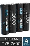 HEITECH 2600 Akku AA Mignon - 4× NiMH Wiederaufladbare Batterien mit min. 2500mAh & 1,2V - Akkus für Geräte mit hohem Stromverbrauch - Akkubatterien ideal für Blitzgerät, Wii & Xbox...