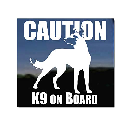 Caution - K9 Onboard ~ Vinyl Window Decal Belgian Malinois Dog Sticker