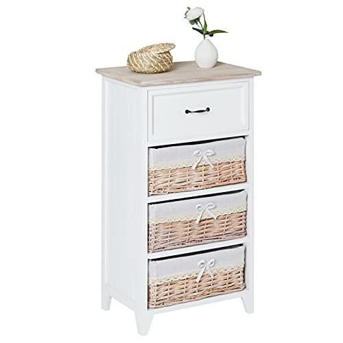 CARO-Möbel Kommode Mehrzweckschrank Anrichte Provence in weiß, Shabby Chic Vintage Look, mit 1 Schublade und 3 Körben