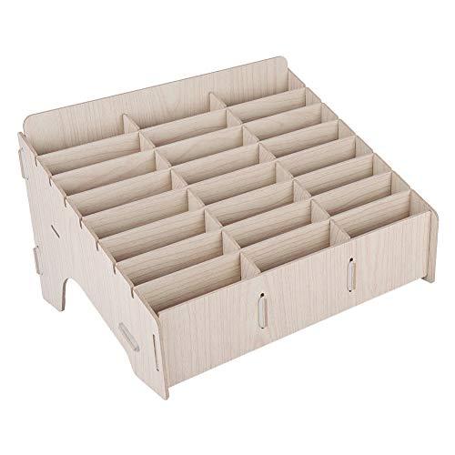 Zerone 24 Grids Holz Aufbewahrungsbox Handy Management Racks Schreibtisch Ordentlich für Uhren, Brieftaschen, Münzen, Schlüssel Zubehör Veranstalter Aufbewahrungsbehälter