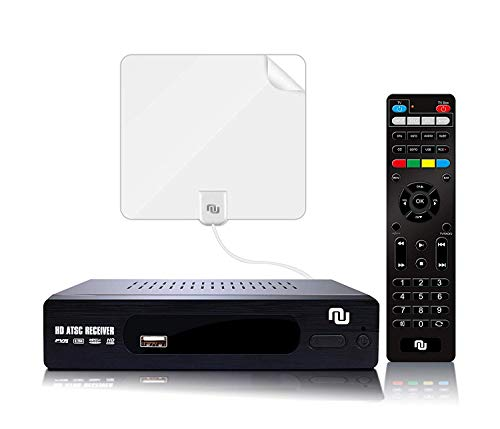 ATSC HD Digital TV Converter Box w/ 1080p HDMI Output, 50 Miles Over The Air(OTA) Flat Antenna & Amplifier, Daily/Weekly Scheduled PVR Recorder w. TV Control Learning Buttons (2019 Version) (White)